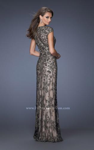 Picture of: Long Beaded Prom Gown with Nude Underlay and Cap Sleeves, Style: 19274, Back Picture