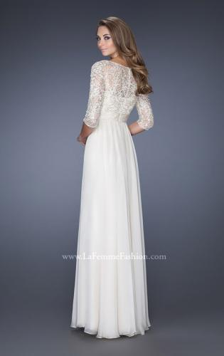 Picture of: Quarter Sleeve Illusion Prom Gown with Beaded Top, Style: 19318, Back Picture