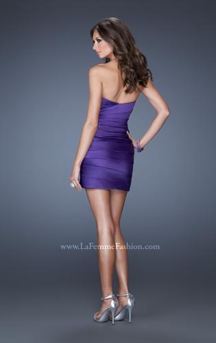 Picture of: Strapless Short Prom Dress with Asymmetrical Ruching, Style: 19334, Back Picture