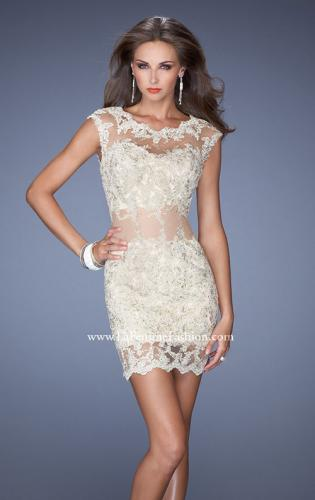 Picture of: Short Prom Dress with Sheer Mesh and Lace Details, Style: 19335, Detail Picture 1