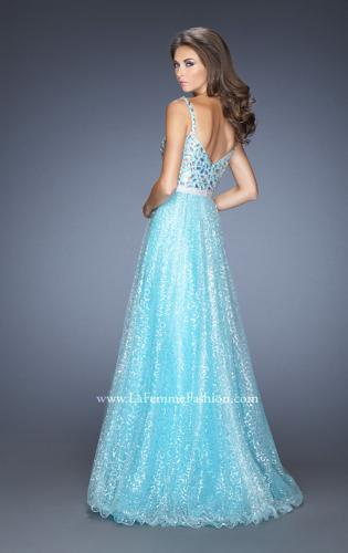 Picture of: Long A-line Prom Gown with a Bedazzled Bodice , Style: 19350, Back Picture