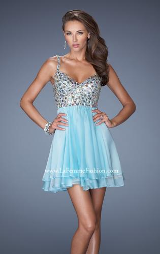 Picture of: Short Chiffon Prom Dress with Embellished Bodice, Style: 19358, Main Picture
