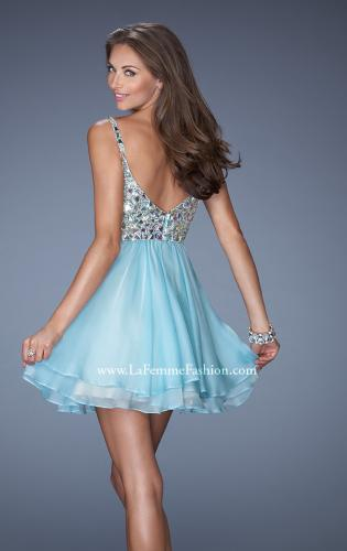 Picture of: Short Chiffon Prom Dress with Embellished Bodice, Style: 19358, Back Picture