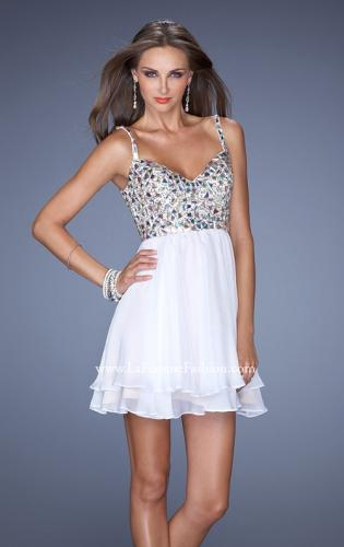 Picture of: Short Chiffon Prom Dress with Embellished Bodice, Style: 19358, Detail Picture 1