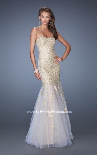 Picture of: Strapless Long Mermaid Prom Dress with Lace Applique, Style: 19363, Main Picture