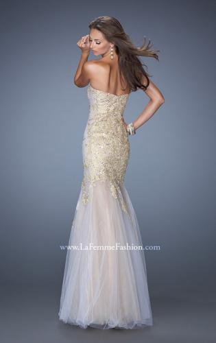 Picture of: Strapless Long Mermaid Prom Dress with Lace Applique, Style: 19363, Back Picture