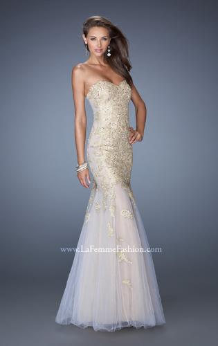Picture of: Strapless Long Mermaid Prom Dress with Lace Applique, Style: 19363, Detail Picture 1