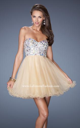 Picture of: Short Strapless A-line Prom Dress with Embellished Bodice, Style: 19373, Main Picture