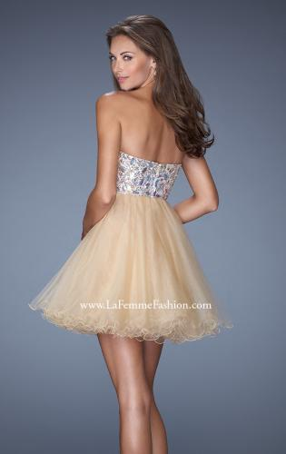 Picture of: Short Strapless A-line Prom Dress with Embellished Bodice, Style: 19373, Back Picture