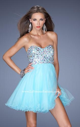 Picture of: Short Strapless A-line Prom Dress with Embellished Bodice, Style: 19373, Detail Picture 1
