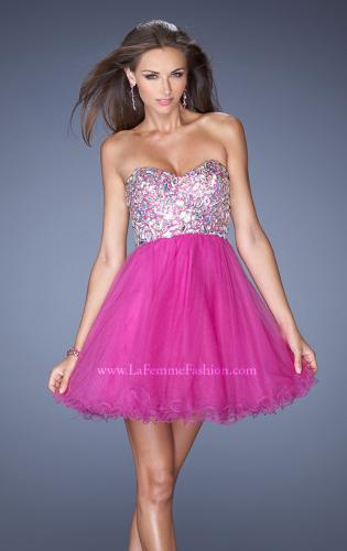 Picture of: Short Strapless A-line Prom Dress with Embellished Bodice, Style: 19373, Detail Picture 2