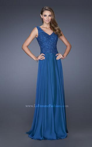 Picture of: Long Chiffon Prom Dress With Embellished Fitted Bodice, Style: 19385, Main Picture