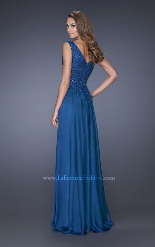 Picture of: Long Chiffon Prom Dress With Embellished Fitted Bodice, Style: 19385, Back Picture