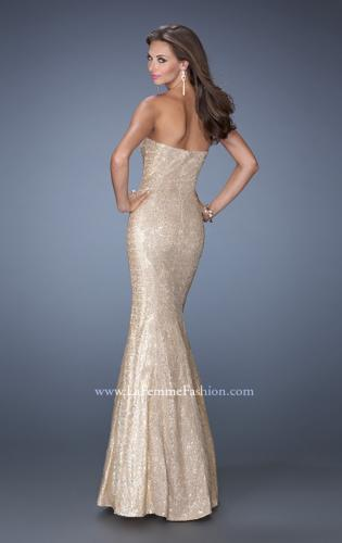 Picture of: Strapless Fitted Mermaid Prom Dress with Sequin Underlay, Style: 19396, Back Picture