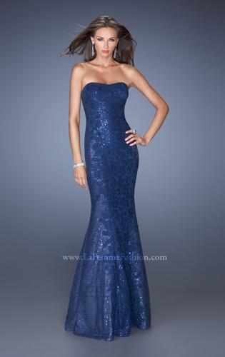 Picture of: Strapless Fitted Mermaid Prom Dress with Sequin Underlay, Style: 19396, Detail Picture 1