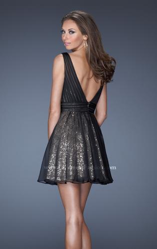 Picture of: Short Sequin Prom Dress with Chiffon Overlay, Style: 19403, Back Picture