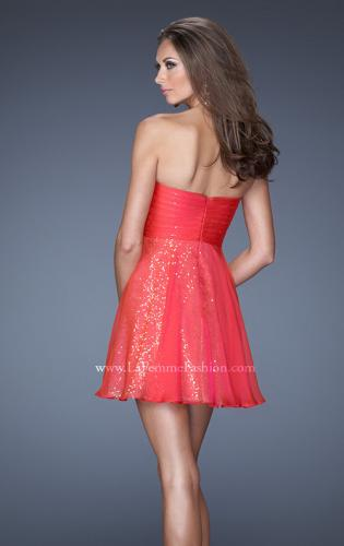 Picture of: Strapless Short Sequin Prom Dress with Chiffon Overlay, Style: 19415, Back Picture