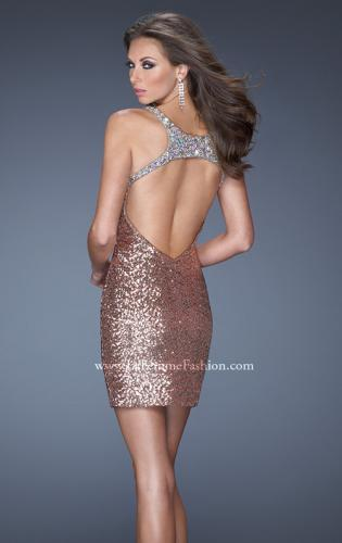 Picture of: Short Sequin Prom Dress and an Open Back, Style: 19423, Back Picture