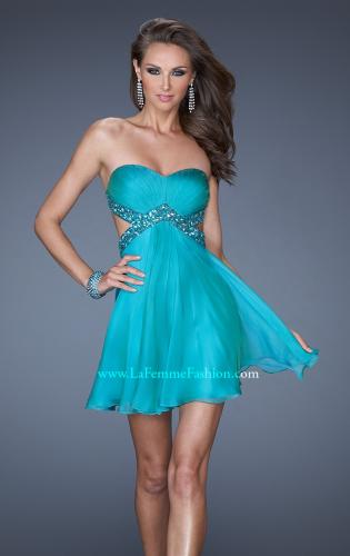 Picture of: Strapless Short Dress with Beaded Belt and Open Back, Style: 19430, Main Picture