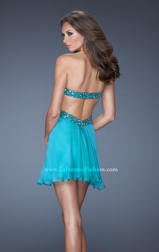 Picture of: Strapless Short Dress with Beaded Belt and Open Back, Style: 19430, Back Picture