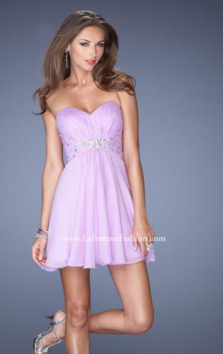 Picture of: Strapless Chiffon Short Prom Dress with Embellished Belt, Style: 19433, Detail Picture 1