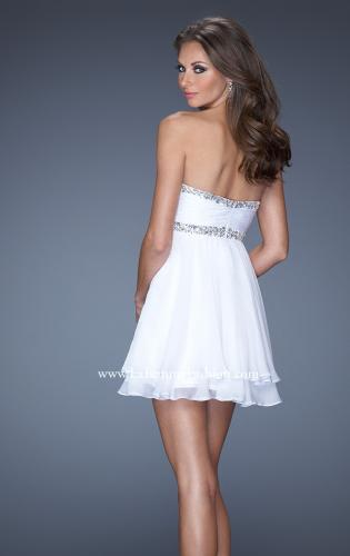 Picture of: Strapless Short Prom Dress with Bedazzled Trim on Bodice, Style: 19436, Back Picture