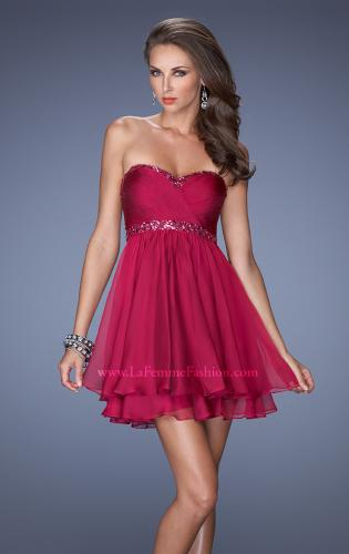 Picture of: Strapless Short Prom Dress with Bedazzled Trim on Bodice, Style: 19436, Detail Picture 1