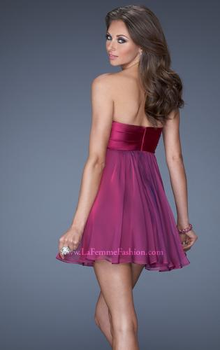 Picture of: Strapless Chiffon Short Prom Dress with Bedazzled Bust, Style: 19446, Back Picture