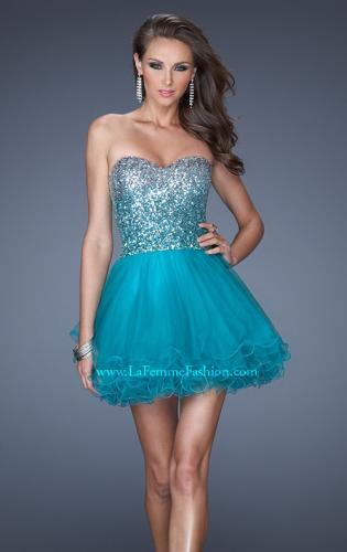 Picture of: Strapless A-line Short Dress with Ombre Sequin Bodice, Style: 19451, Main Picture