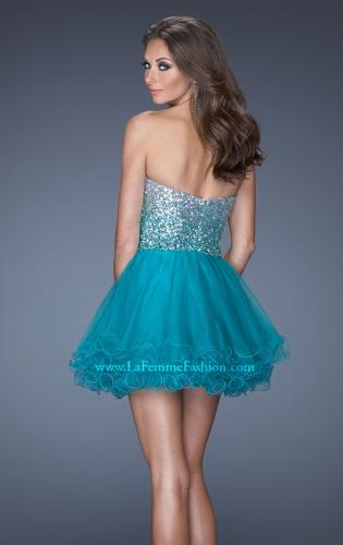Picture of: Strapless A-line Short Dress with Ombre Sequin Bodice, Style: 19451, Back Picture