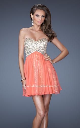 Picture of: Strapless Short Sequin Dress with Chiffon Skirt Overlay, Style: 19452, Main Picture