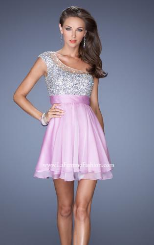 Picture of: One Shoulder Short Prom Dress with Metallic Beaded Bodice, Style: 19456, Detail Picture 1