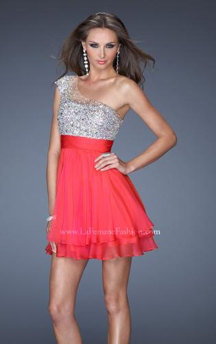 Picture of: One Shoulder Short Prom Dress with Metallic Beaded Bodice, Style: 19456, Detail Picture 2