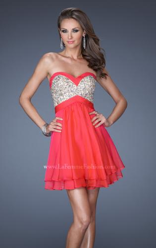 Picture of: Short Strapless Chiffon Prom Dress with Sequin Bodice, Style: 19458, Main Picture