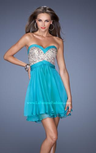 Picture of: Short Strapless Chiffon Prom Dress with Sequin Bodice, Style: 19458, Detail Picture 1