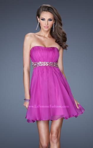Picture of: Strapless Short Dress with a Ruched Bodice and Beaded Belt, Style: 19460, Main Picture