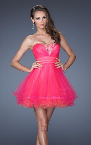 Picture of: Strapless Short Prom Dress with Two Toned Tulle, Style: 19461, Main Picture
