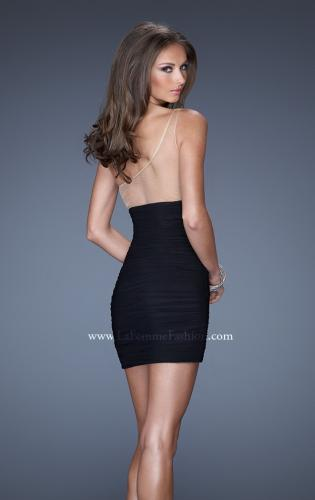 Picture of: One Shoulder Short Fitted Dress with Embellished Bust, Style: 19473, Back Picture