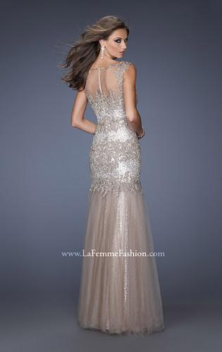 Picture of: Long Mermaid Sequin Prom Dress with Sheer Mesh Overlay, Style: 19485, Back Picture