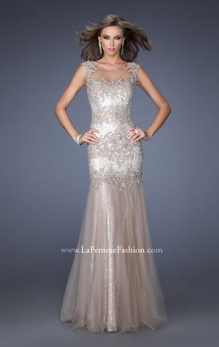 Picture of: Long Mermaid Sequin Prom Dress with Sheer Mesh Overlay, Style: 19485, Detail Picture 1