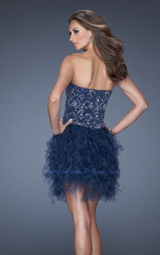 Picture of: Short Strapless Sequin Prom Dress with Shredded Tulle Skirt, Style: 19493, Back Picture