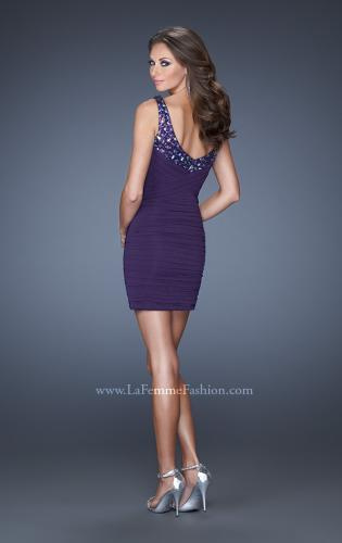 Picture of: Short Fitted Prom Dress with Beaded Stone Bodice, Style: 19507, Back Picture
