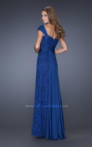 Picture of: Long Lace Dress with Ruched Chiffon Belt and Cap Sleeves, Style: 19509, Back Picture