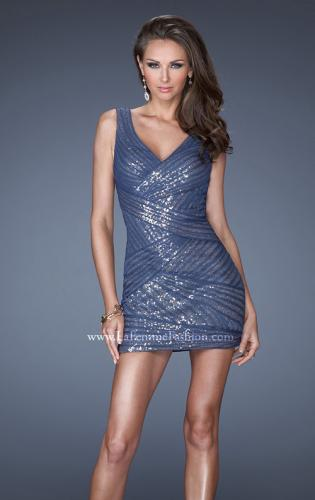 Picture of: Short Fitted Dress with Gold Sequin Overlay, Style: 19522, Main Picture