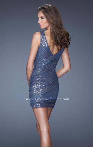 Picture of: Short Fitted Dress with Gold Sequin Overlay, Style: 19522, Back Picture