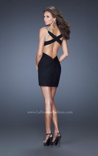 Picture of: Short Prom Dress with Flattering Ruching and Sequin Details, Style: 19530, Back Picture