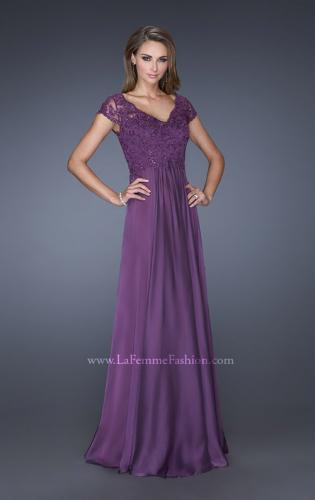 Picture of: Long Chiffon Dress with Lace Bodice and Cap Sleeves, Style: 19544, Main Picture