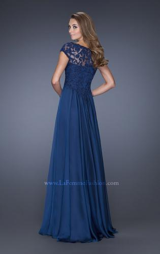 Picture of: Long Chiffon Dress with Lace Bodice and Cap Sleeves, Style: 19544, Back Picture