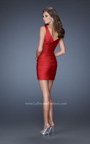 Picture of: Short Dress with Wrapped Body Pleated Detail, Style: 19546, Back Picture