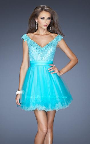 Picture of: Short Prom Dress with Tulle Skirt and Embellished Lace Bodice, Style: 19572, Main Picture